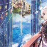 anime-girl-white-hair-fantasy-landscape-castle-waterfall